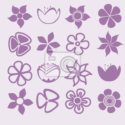 Blume-Icon-Set Vektor-Illustration, Flat