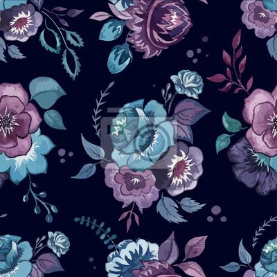 poster blumen aquarell muster tapeten textilien - Muster Tapeten