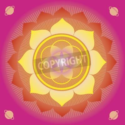 Poster Blumenelemente und Mandalas mit esoterischen Sinn für Yoga-Praxis und Design für Gesundheit und Wohlbefinden