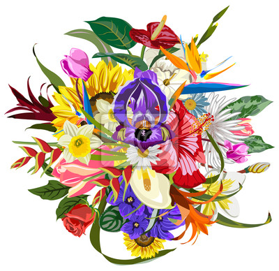 Poster Blumenstrauß der vielen schönen und bunten Blumen