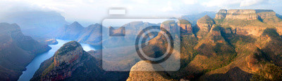 Poster Blyde River Canyon blue lake, Three Rondavels and God's Window, Drakensberg Mountains national park panorana on beautiful sunset light background, top view, South Africa, Mpumalanga Province