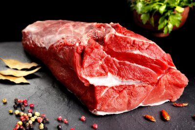 Poster bodegón, pieza de carne, Chuleton listo para cocinar