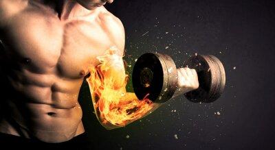 Poster Bodybuilder Athleten heben Gewicht mit Feuer explodieren Arm Konzept
