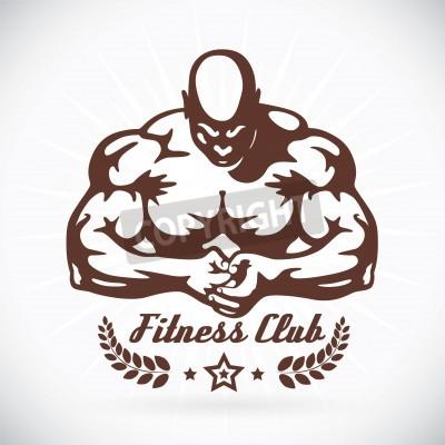 Poster Bodybuilder Fitness Model Illustration, Zeichen, Symbol, Taste, Abzeichen, Icon, Logo für Familie, Baby, Kinder, Teenager, Menschen, Tattoo