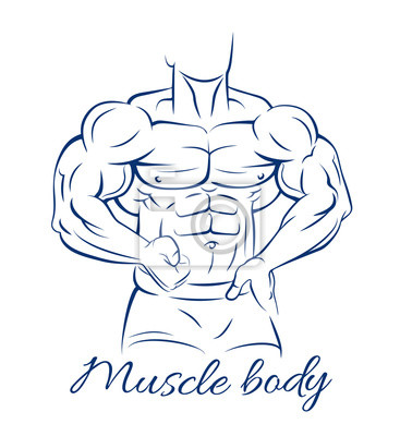 Poster Bodybuilder Fitness-Modell Muskel Körper Zeichnung auf weißem Hintergrund