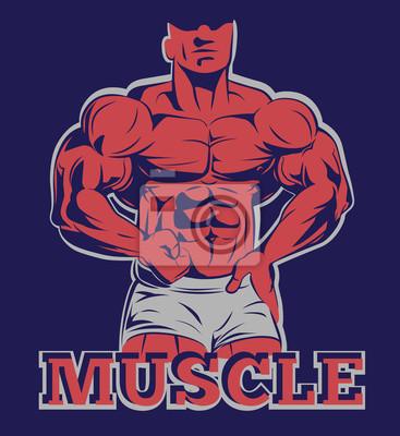 Poster Bodybuilder logo muskel mann posieren emblem