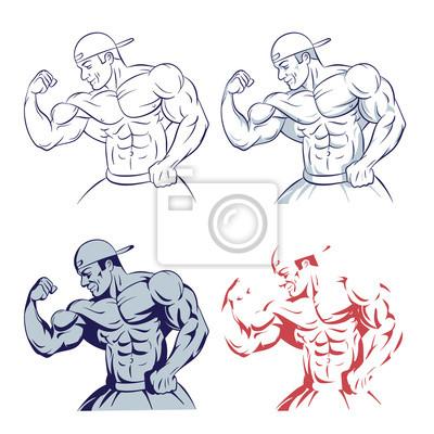 Poster Bodybuilder posiert Muskel Mann Linie Zeichnung Illustration auf weißem Hintergrund