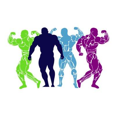 Poster Bodybuilding, Kraftheber, Ikone, Vektor, flach
