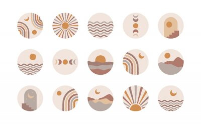 Poster Boho social media highlight covers. Abstract stories contemporary style, sun moon story round icons, vector mid century illustration
