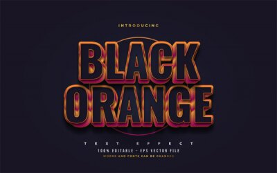 Poster Bold Black and Orange Text Style with 3D Embossed Effect. Editable Text Style Effects