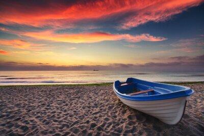 Poster Boot und Sonnenaufgang