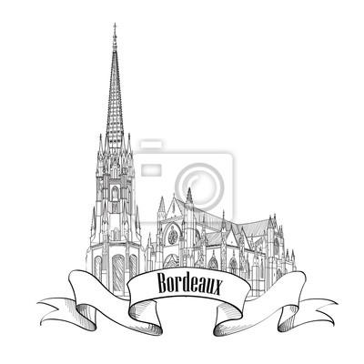Bordeaux-Stadt-Skyline-Entwurf. Reise Frankreich Wahrzeichen doodle Retro-Label