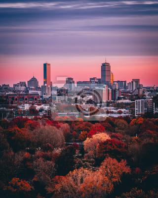 Poster Boston bei Sonnenuntergang in Boston, Massachusetts, USA.