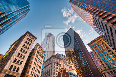 Poster Boston downtown financial district and city skyline