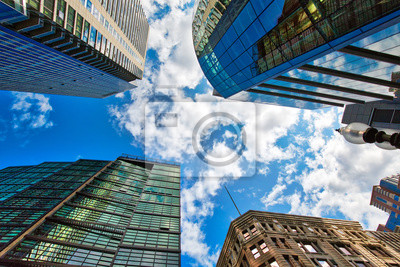 Poster Boston downtown financial district and city skyline at a bright sunny day