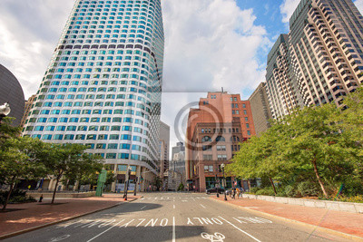 Poster Boston, MA, USA-20 July, 2019: Boston downtown financial district and city skyline