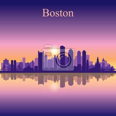 Boston Stadt Skyline Silhouette Hintergrund