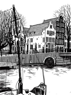 Bow of a boat with flags and ancien houses of Amsterdam, Netherlands. Streets, houses and canals. Hand-drawn collection of urban sketches of European cities. Black and white illustration.