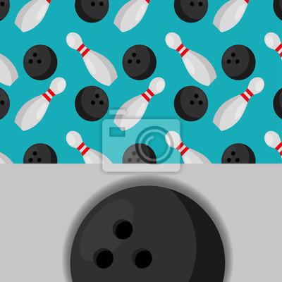 Poster Bowling Ball und Stifte Sport Wettbewerb Muster Vektor-Illustration