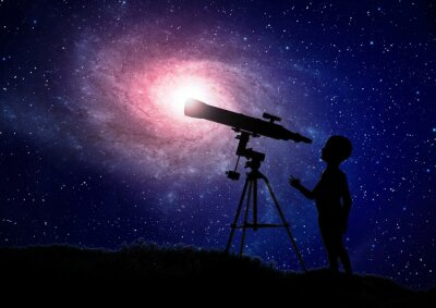 Poster Boy Blick durch ein Teleskop
