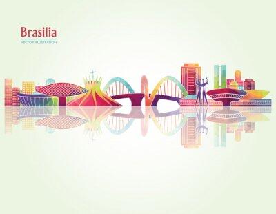 Poster Brasilia detaillierte Skylines. Abbildung