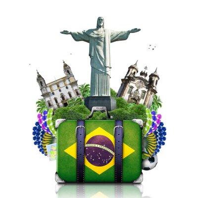 Poster Brasilien, Brasilien Sehenswürdigkeiten, Reise-und Retro-Koffer