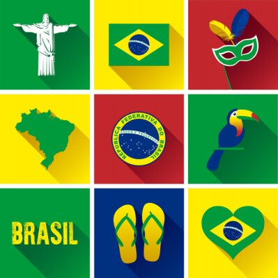 Poster Brasilien flachen Icon-Set. Satz von Vektor-Grafik-flache Symbole, die Wahrzeichen und Symbole von Brasilien darstellen.