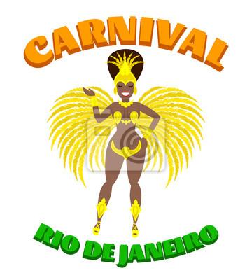 Poster Brasilien Karnevalsfrau. Samba-Tänzer in Karnevalskostüm. Rio de janeiro karneval