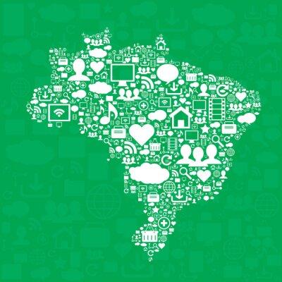 Poster Brasilien-Karte mit Symbolen.