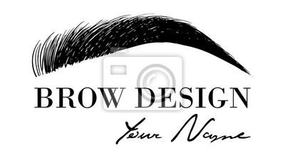 Poster Brauen Sie Designlogo-Visitenkarteschablone mit der Handzeichnungs-Augenbraue. Vektorlogo für Schönheitsstudio Brauenstab, weibliche Augenbrauen-Illustration lokalisiert