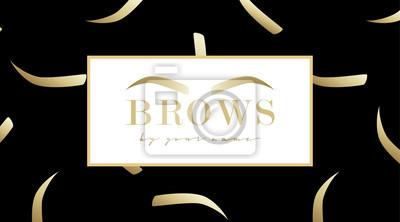 Poster Brauen Sie Designlogo-Visitenkarteschablone mit Goldaugenbraue und mit nahtlosem Druck der Augenbrauen auf schwarzem Hintergrund. Vektorlogo für Schönheitsstudio Brauenstab. Weibliche grafische Augenb