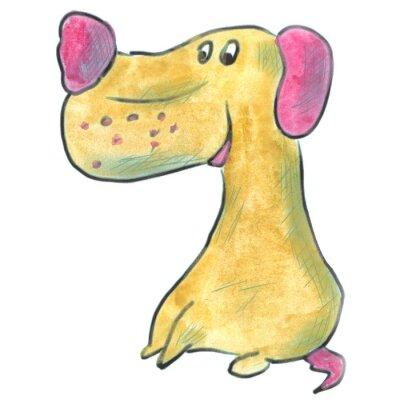 Poster Brauner Hund mit rosa Ohren Cartoon Aquarell isoliert