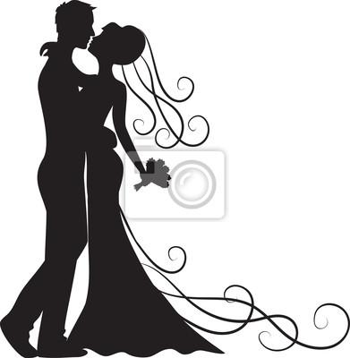 Bräutigam und Braut küssen