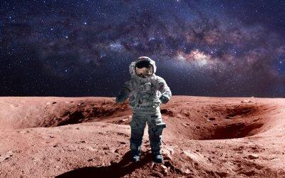 Poster Brave Astronaut auf dem Spacewalk auf dem Mars. Diese Bildelemente von der NASA.