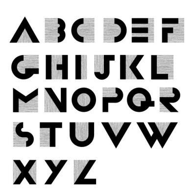 Poster Breite dekorative Retro-Alphabet