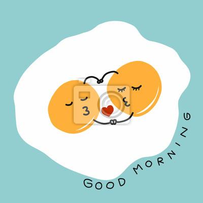 Brennende Eier Umarmung Und Kuss Und Guten Morgen Wort