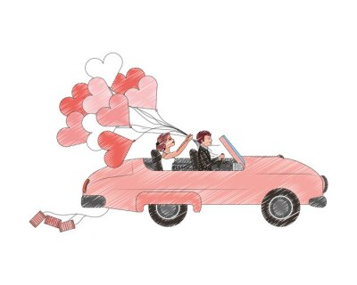 bride and groom couple in convertible car with balloons