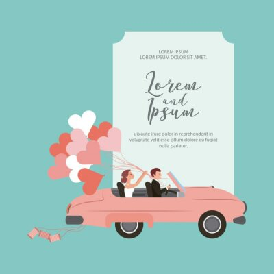 bride and groom in convertible car with balloons wedding card