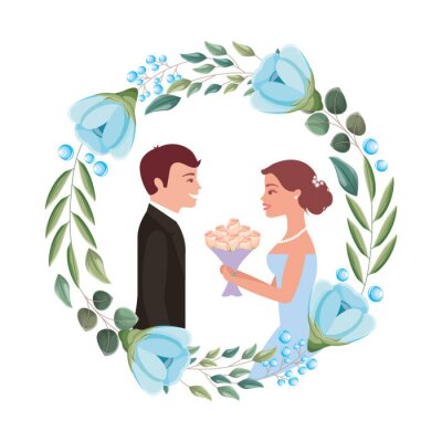 bride with bouquet and groom wedding day in flowers frame