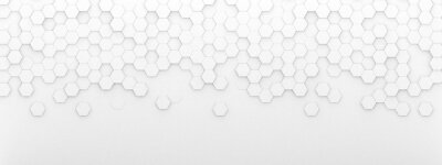Poster Bright white abstract hexagon wallpaper or background - 3d render