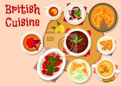 Britische Küche | Britische Kuche Mittagessen Gerichte Symbol Design Wandposter