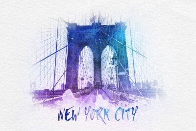 Poster Brooklyn-Brücke mit New- York Citytext
