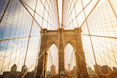 Poster Brooklyn-Brücke und Manhattan-Skyline