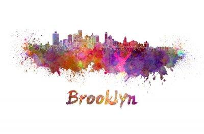 Poster Brooklyn Skyline im Aquarell