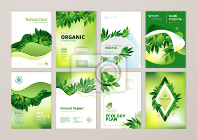 Poster Broschüre und Jahresbericht decken Designvorlagen zum Thema Natur, Umwelt und Bio-Produkte ab. Vector Illustrationen für Fliegerplan, Marketing-Material, Zeitschriften, Darstellungen