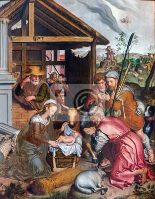 Poster Brügge - Anbetung der Pastores malen in der Kirche Unserer Lieben Frau.