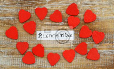 Buenos Dias Guten Morgen In Spanisch Mit Kleinen Roten