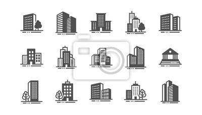 Poster Buildings icons. Bank, Hotel, Courthouse. City, Real estate, Architecture buildings icons. Hospital, town house, museum. Urban architecture, city skyscraper. Classic set. Quality set. Vector