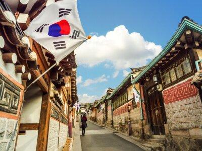 Poster Bukchon Hanok Village in Seoul, South Korea.