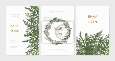 Poster Bundle of elegant stylish wedding invitation templates decorated with green ferns and wild herbs on white background. Colorful hand drawn vector illustration in beautiful exquisite antique style.